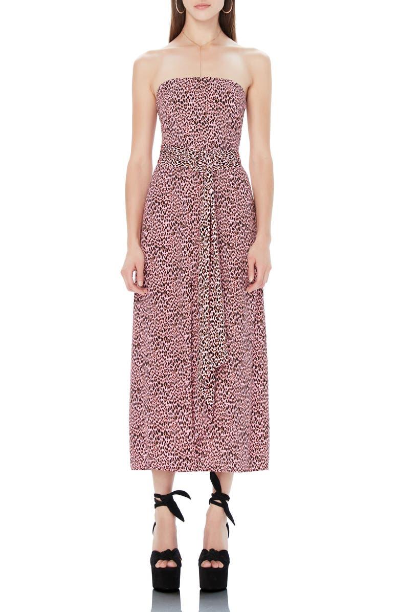 AFRM Ria Pink Leopard Strapless Midi Dress, Main, color, PINK NEON LEOPARD