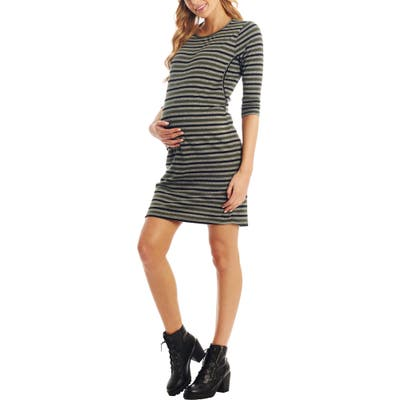 Everly Grey Estela Stripe Maternity/nursing Dress, Green