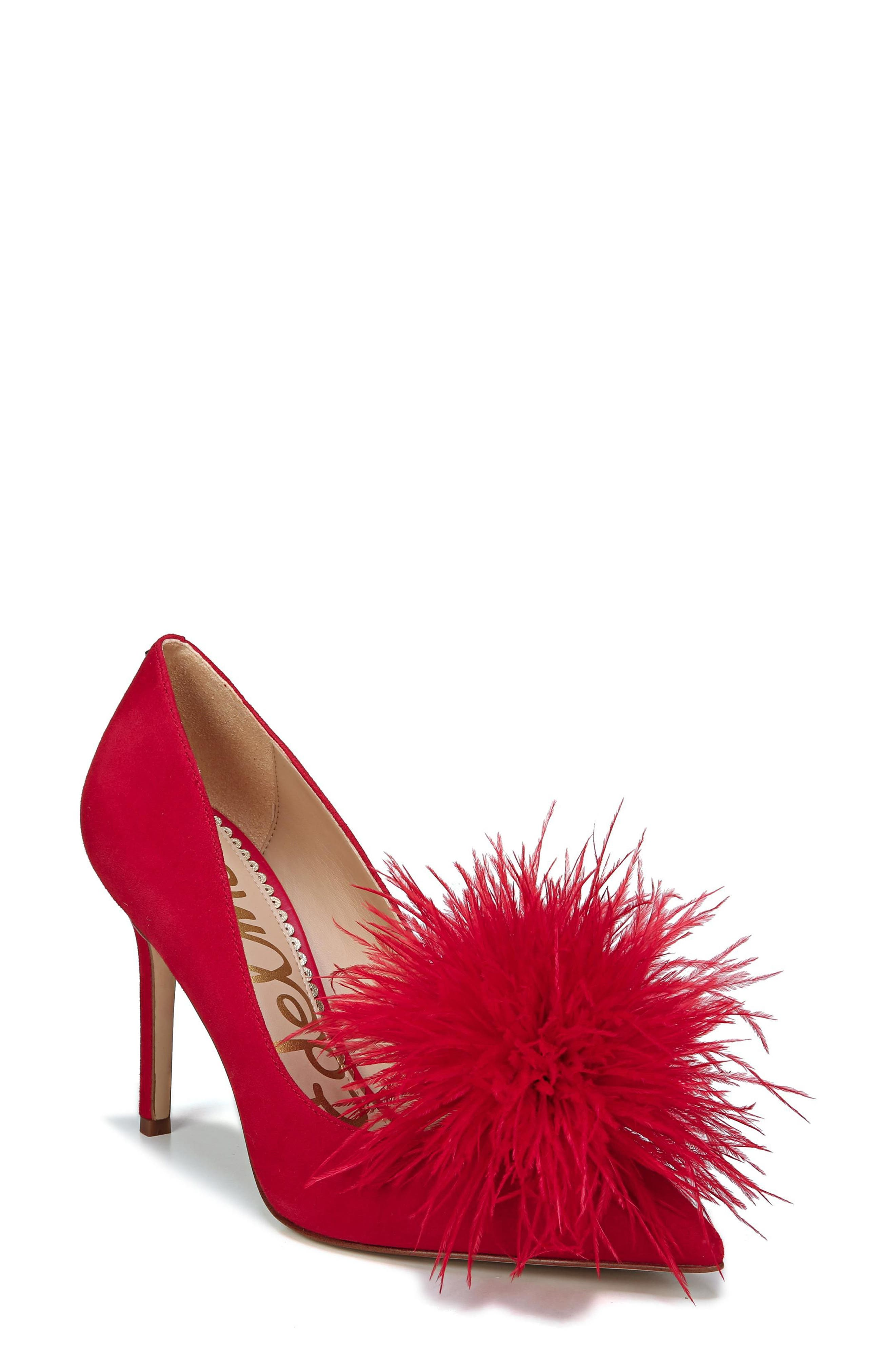 ,                             Haide Feather Genuine Calf Hair Pompom Pump,                             Main thumbnail 28, color,                             600