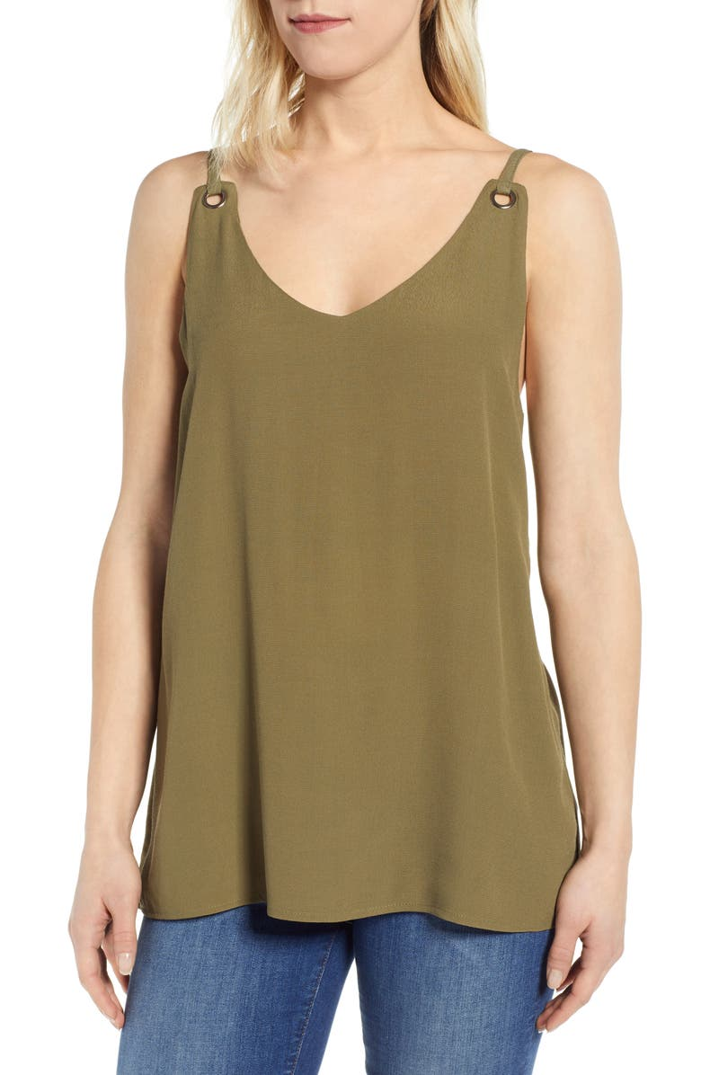BOBEAU Eliza Grommet Detail Tank Blouse, Main, color, OLIVE