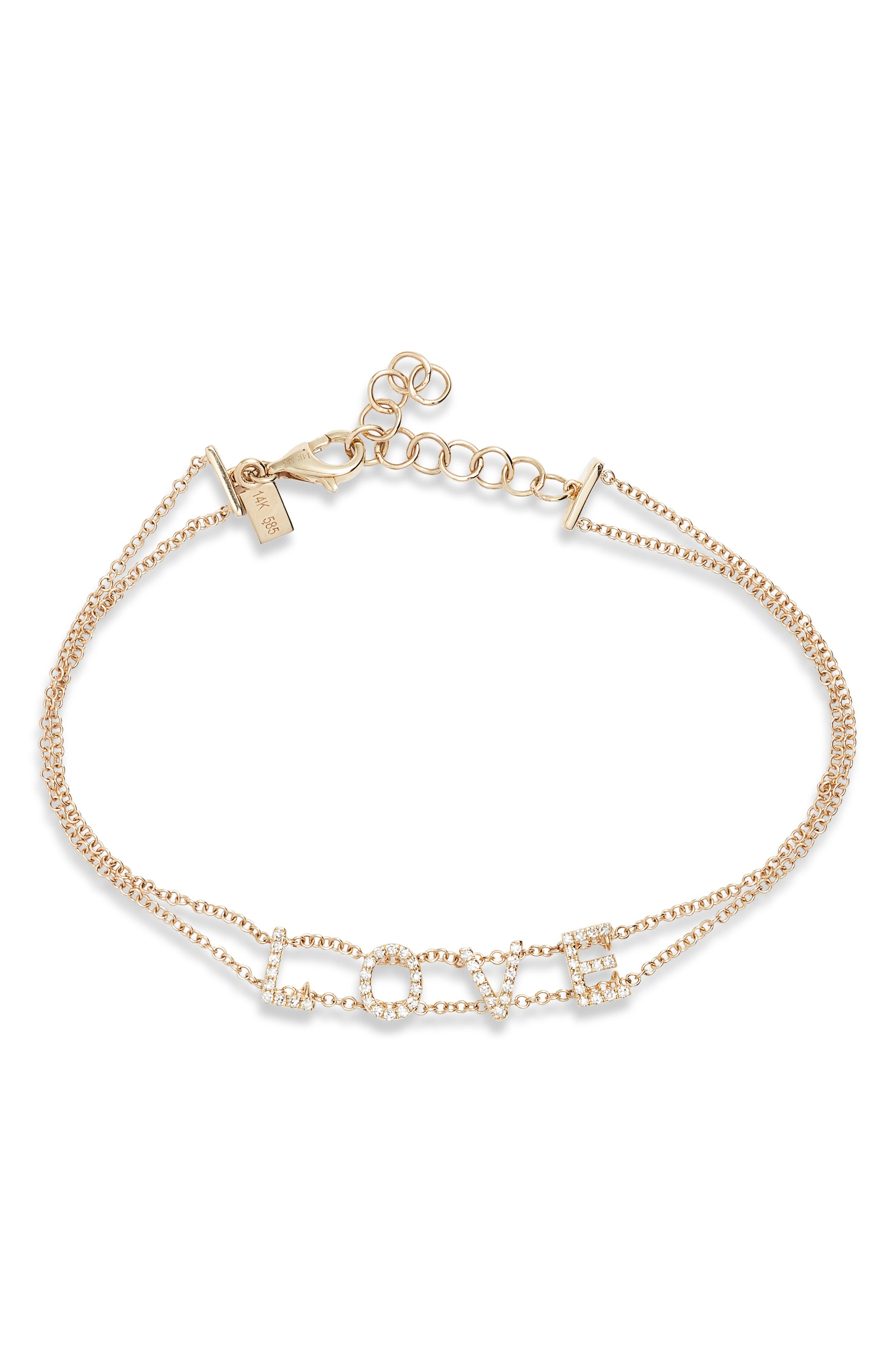 ,                             Love Diamond Bracelet,                             Main thumbnail 1, color,                             YELLOW GOLD/ DIAMOND