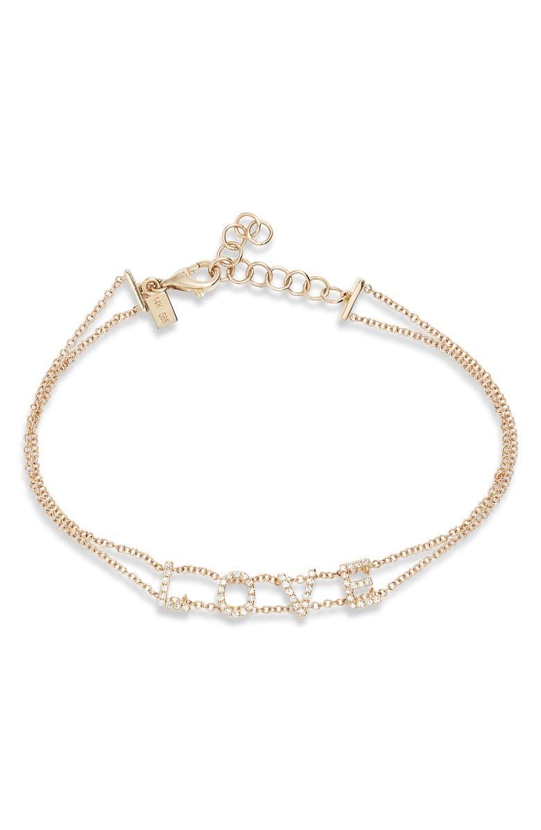 EF COLLECTION Love Diamond Bracelet, Main, color, YELLOW GOLD/ DIAMOND