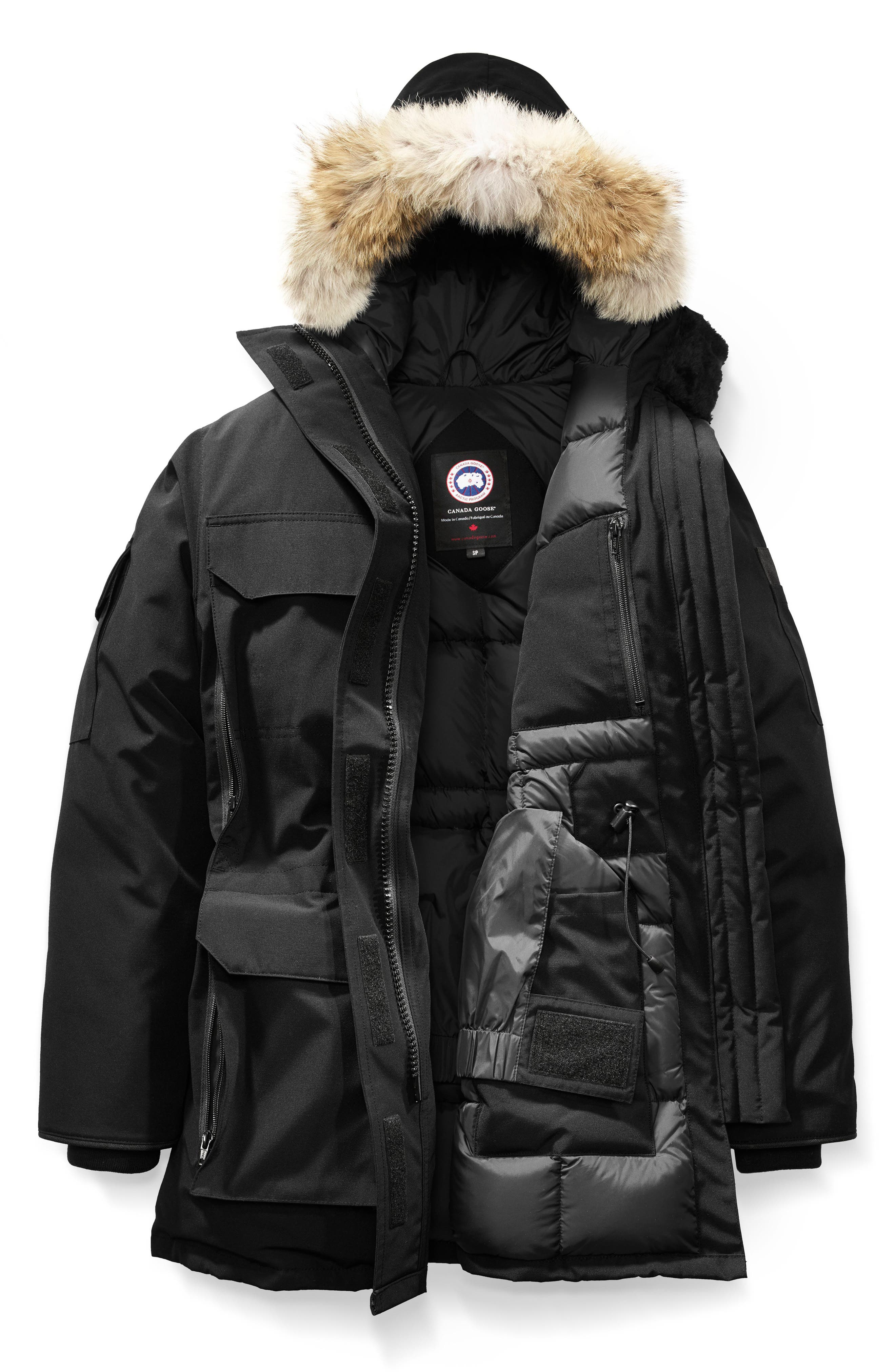 ,                             Expedition Hooded Down Parka with Genuine Coyote Fur Trim,                             Alternate thumbnail 4, color,                             BLACK