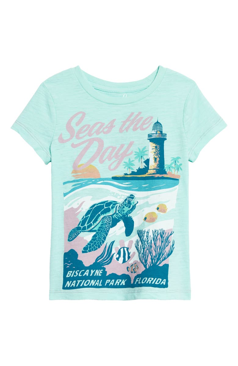 PEEK AREN'T YOU CURIOUS Seas the Day Graphic Tee, Main, color, AQUA