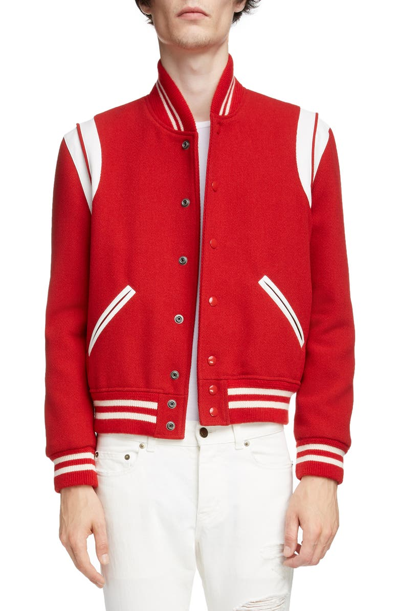 SAINT LAURENT Teddy Stretch Wool Varsity Jacket, Main, color, RED