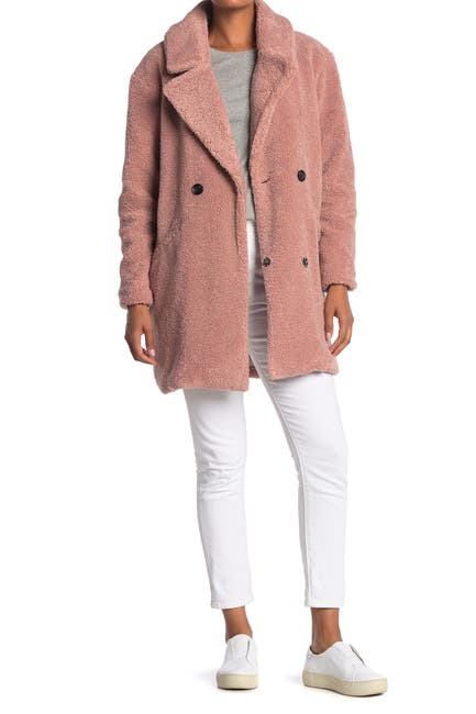 Image of Lucky Brand Double Breasted Faux Teddy Fur Coat