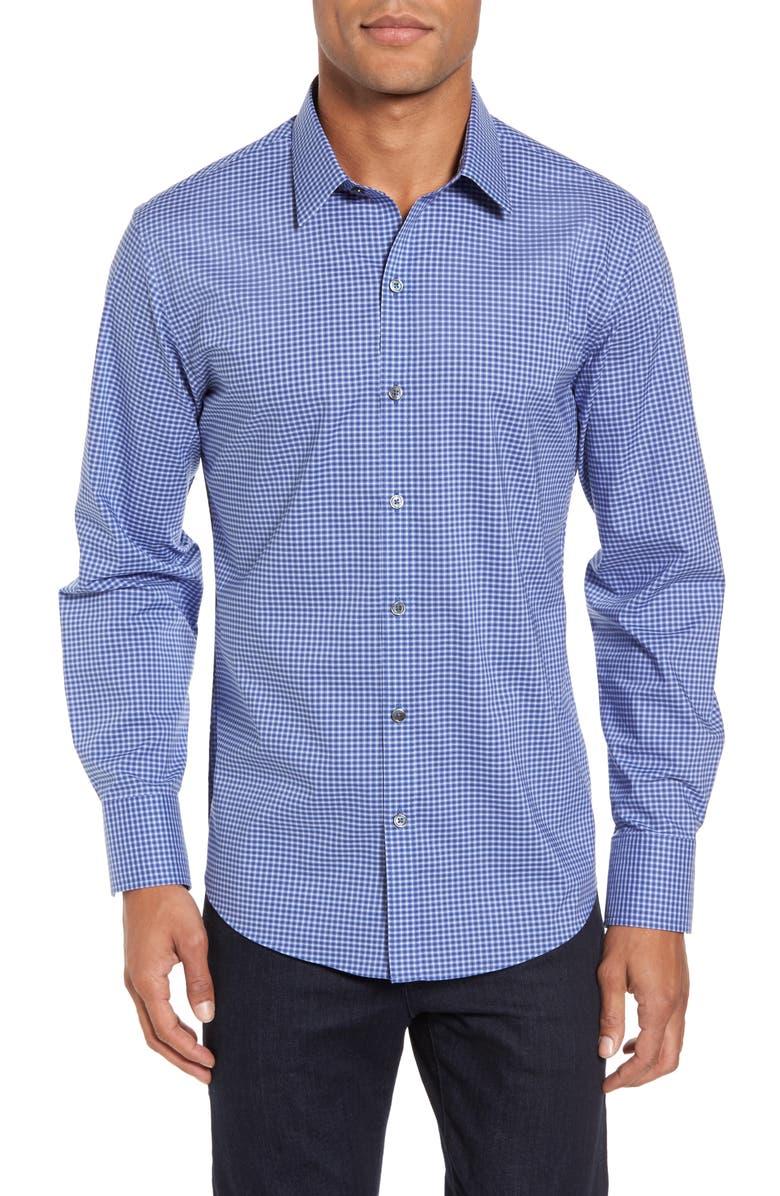 ZACHARY PRELL Ramon Regular Fit Mini Check Sport Shirt, Main, color, 400