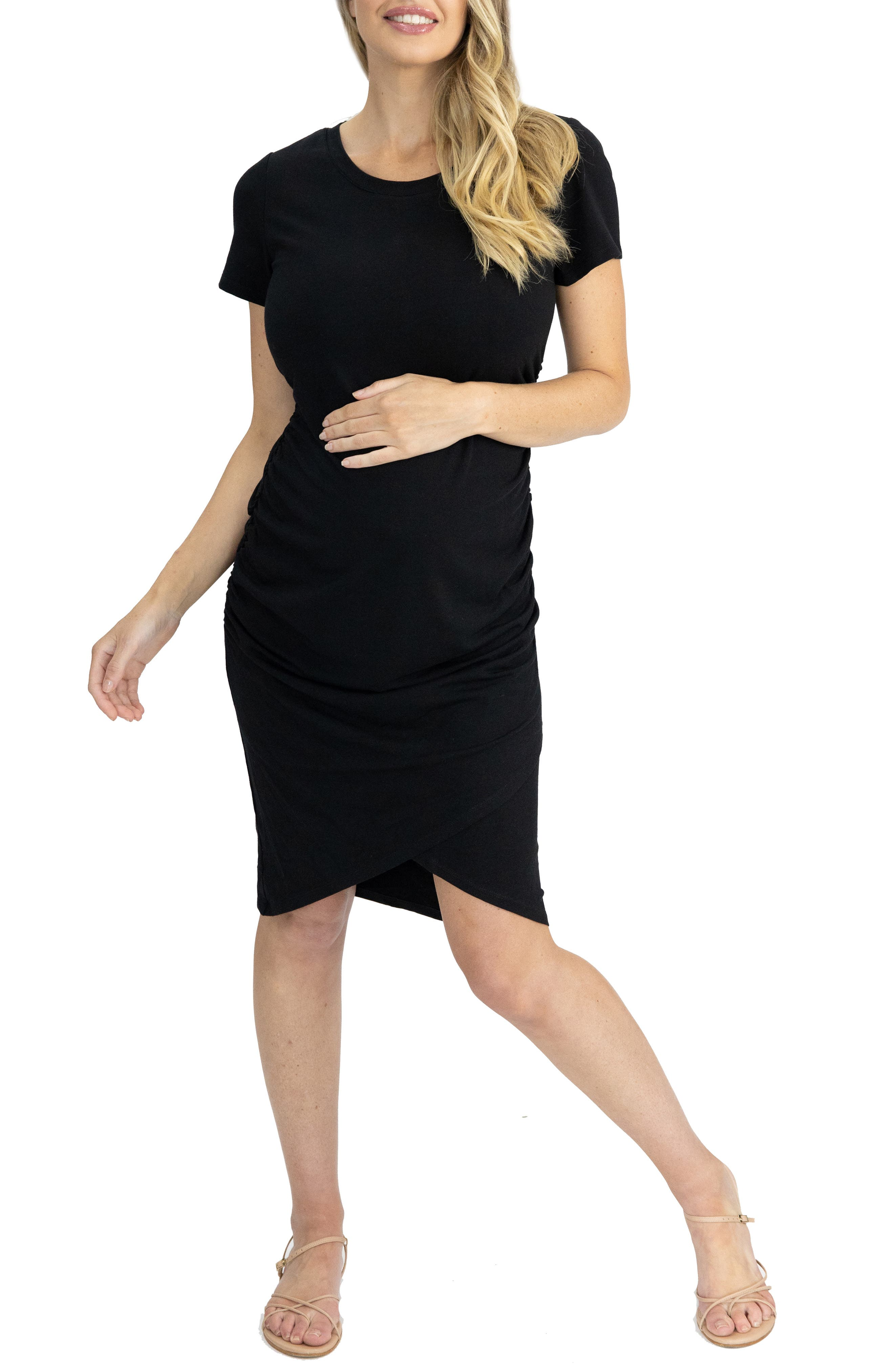 Ruched Body-Con Maternity Dress