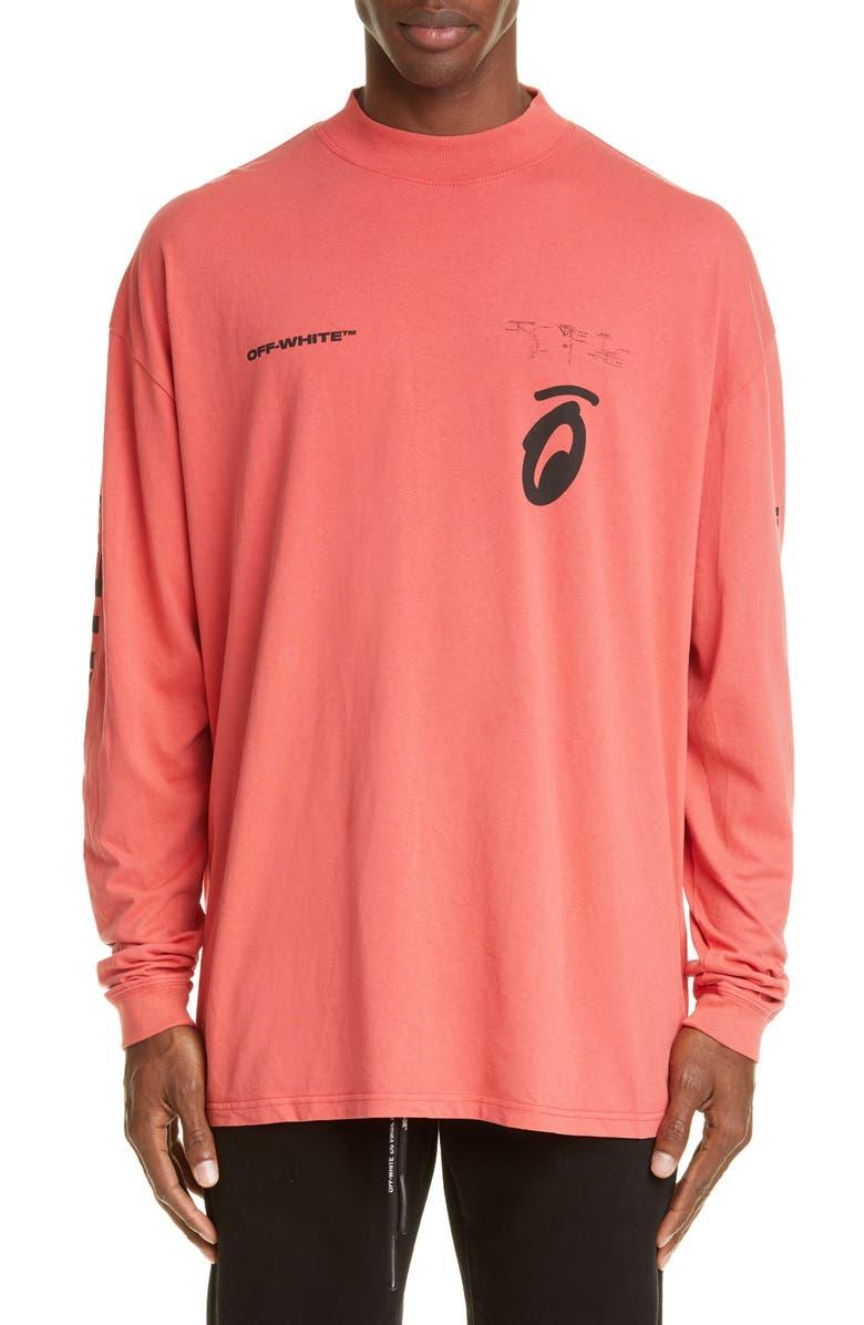 OFF-WHITE Split Arrows Mock Neck T-Shirt, Main, color, RED BLACK