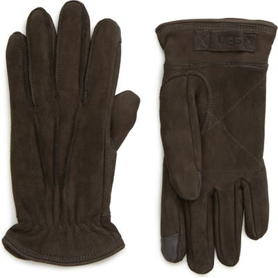 UGG Three-Point Leather Tech Gloves, Grey
