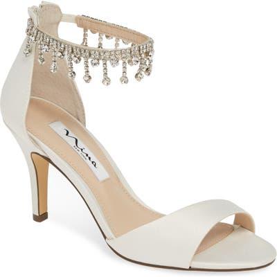 Nina Vera Embellished Ankle Strap Sandal, Ivory