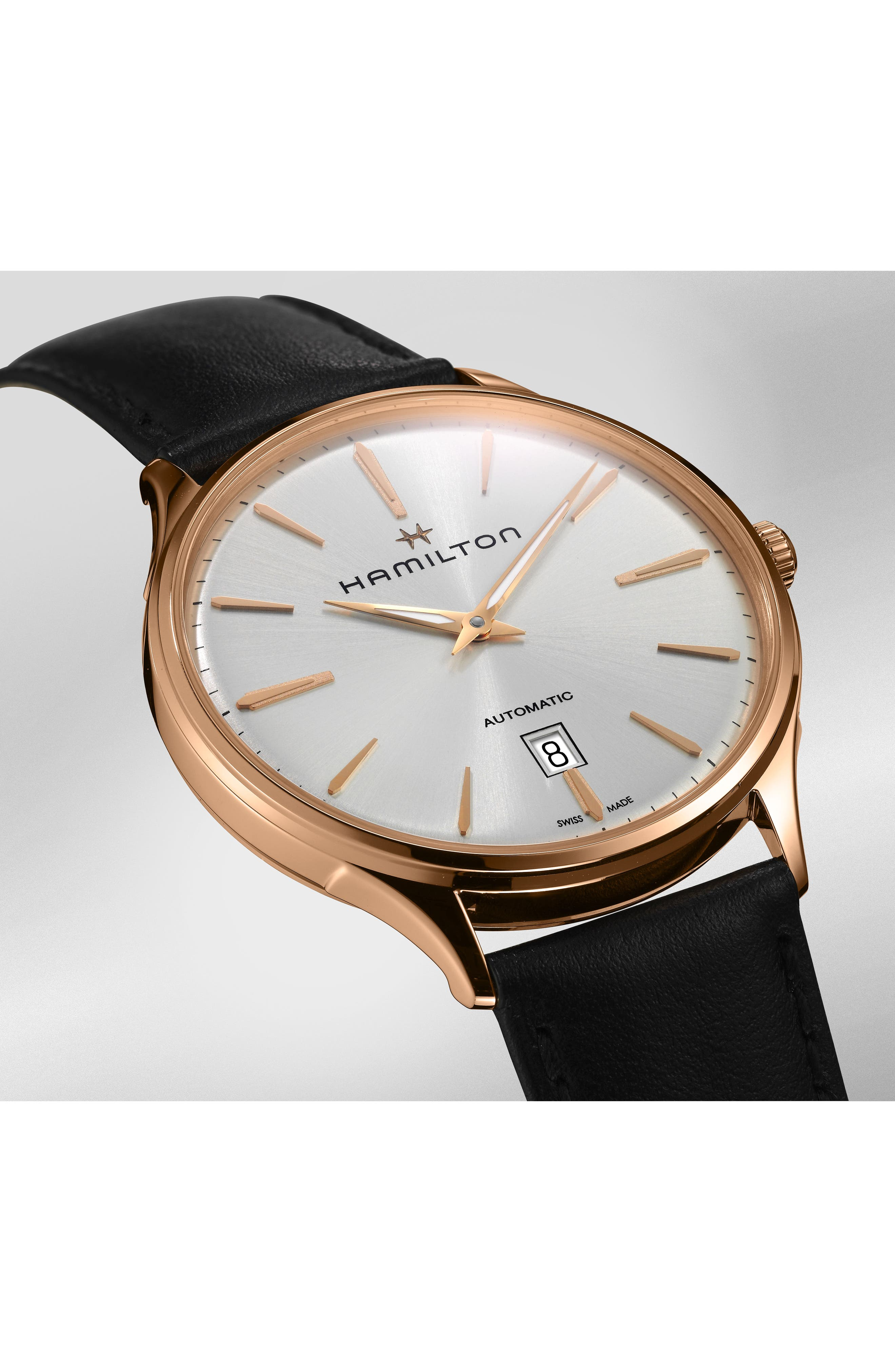 ,                             Jazzmaster Thinline 18K Gold Automatic Leather Strap Watch, 40mm,                             Alternate thumbnail 4, color,                             001