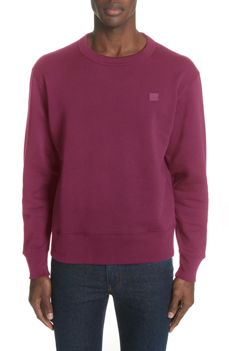 ACNE STUDIOS Fairview Face Crewneck Sweatshirt, Main, color, BLUSH PINK
