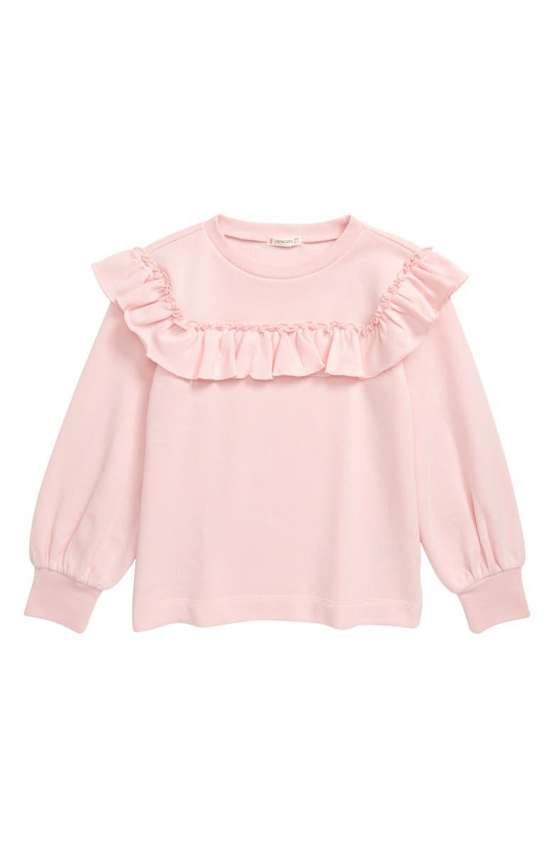 CREWCUTS BY J.CREW Ruffle Trim Sweatshirt, Main, color, SUNWASHED PINK
