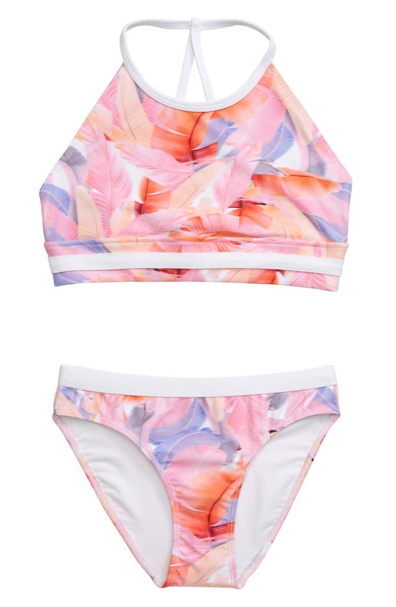 ZELLA GIRL Two-Piece Halter Swimsuit, Main, color, CORAL BLAZE PHOTO TROPICAL