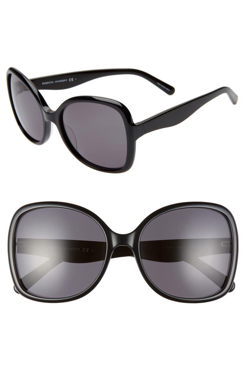 REBECCA MINKOFF Lark2 58mm Butterfly Sunglasses, Main, color, BLACK/ GREY BLUE