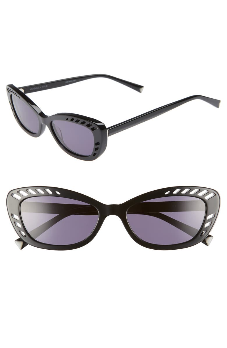 KENDALL + KYLIE Extreme 55mm Cat Eye Sunglasses, Main, color, BLACK
