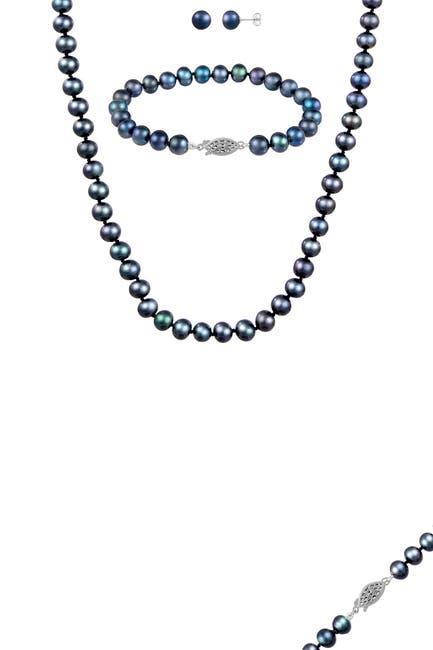 Image of Splendid Pearls 14K White Gold 3-Piece 7-8mm Black Freshwater Pearl Set