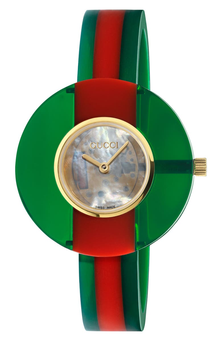 GUCCI Vintage Web Bangle Watch, 35mm, Main, color, GREEN/ RED/ MOP/ GOLD
