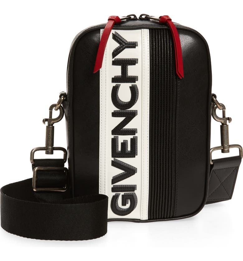 GIVENCHY MC3 Leather Crossbody Bag, Main, color, BLACK/ WHITE