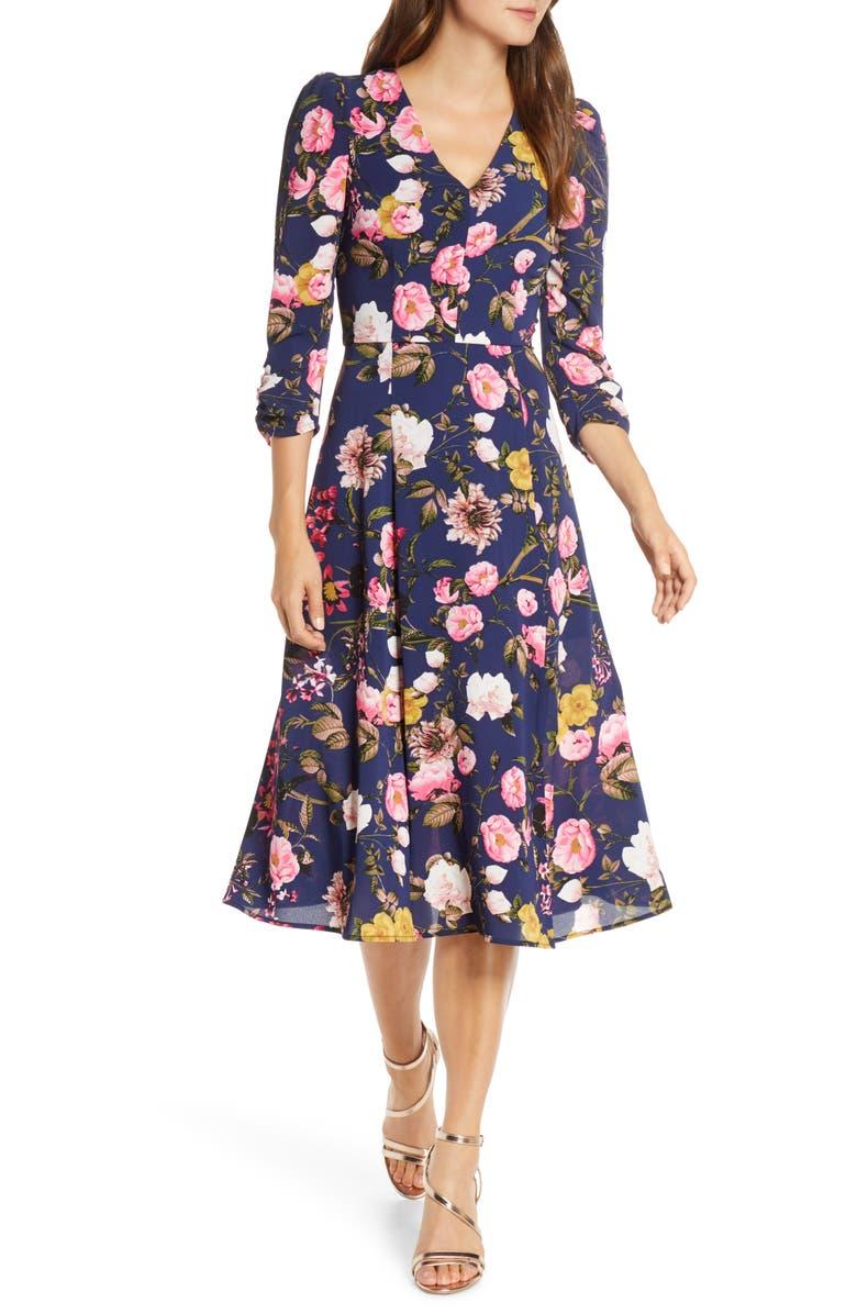 ELIZA J Floral Fit & Flare Dress, Main, color, NAVY