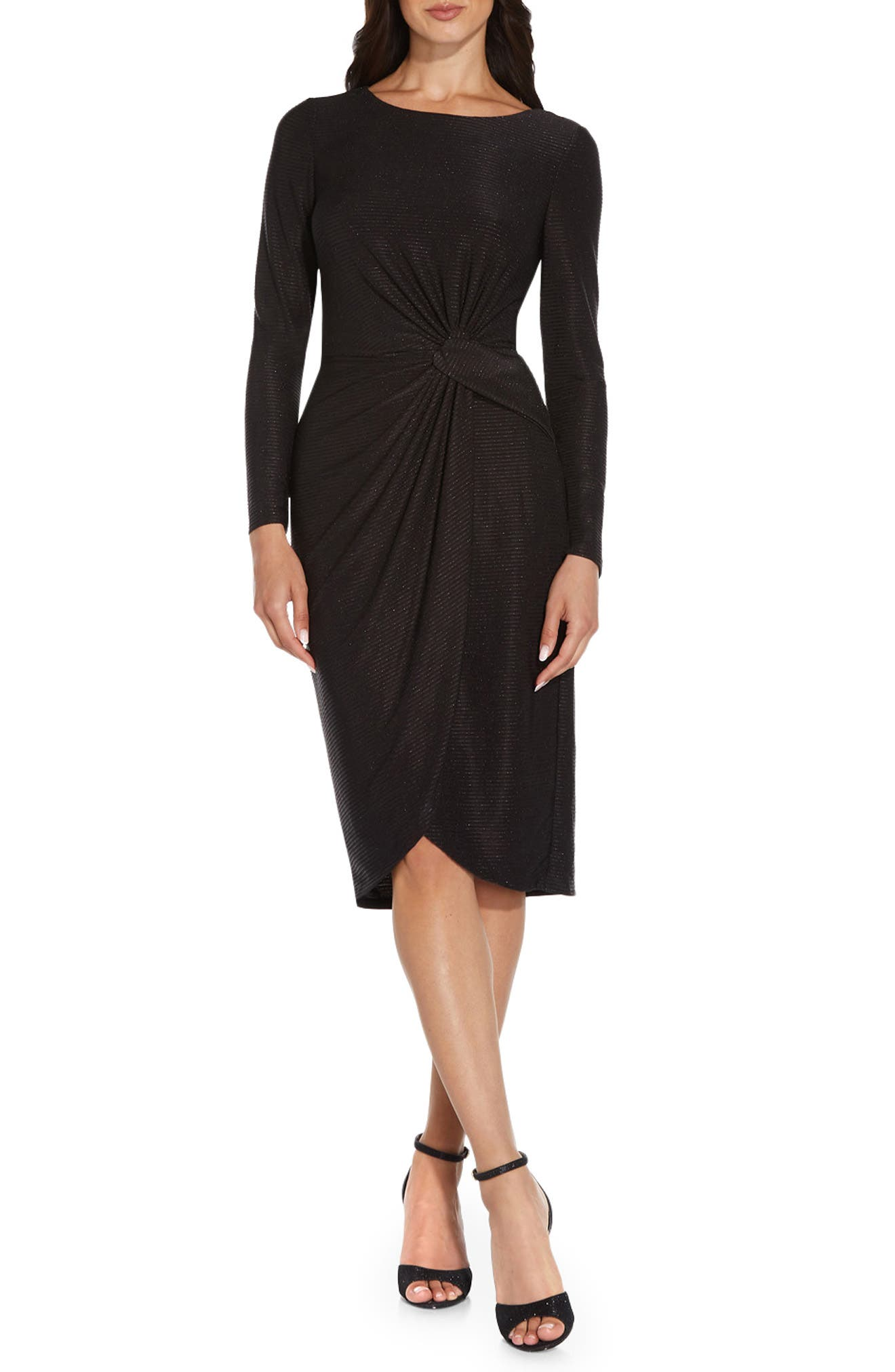 Draped Long Sleeve Sheath Dress