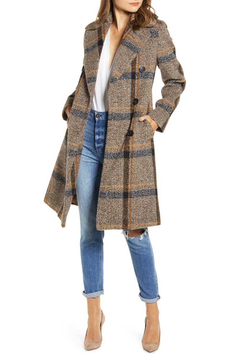 KENDALL + KYLIE Plaid Double Breasted Coat, Main, color, BROWN PLAID