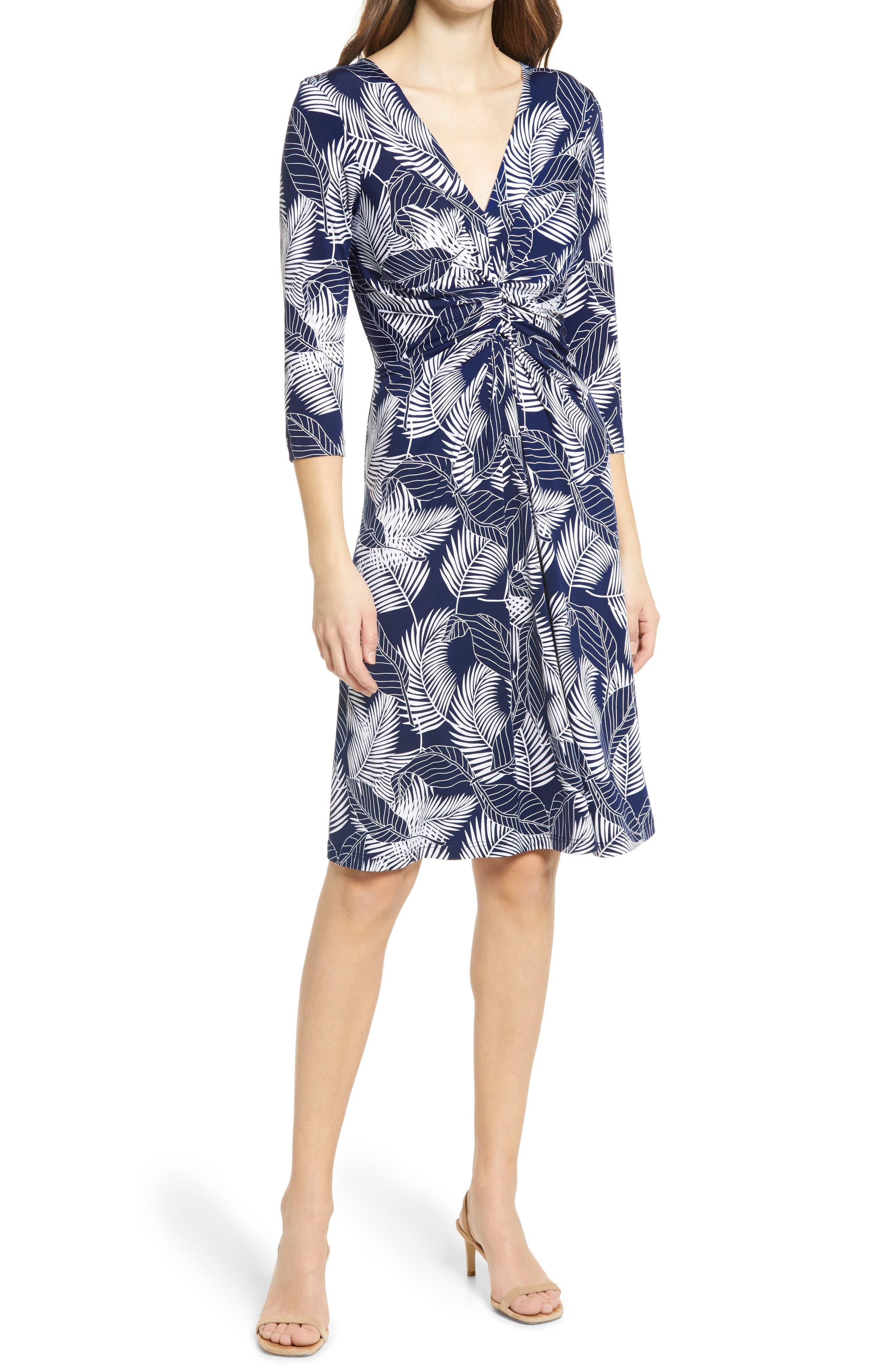 Floral Print Twist Front Jersey Dress