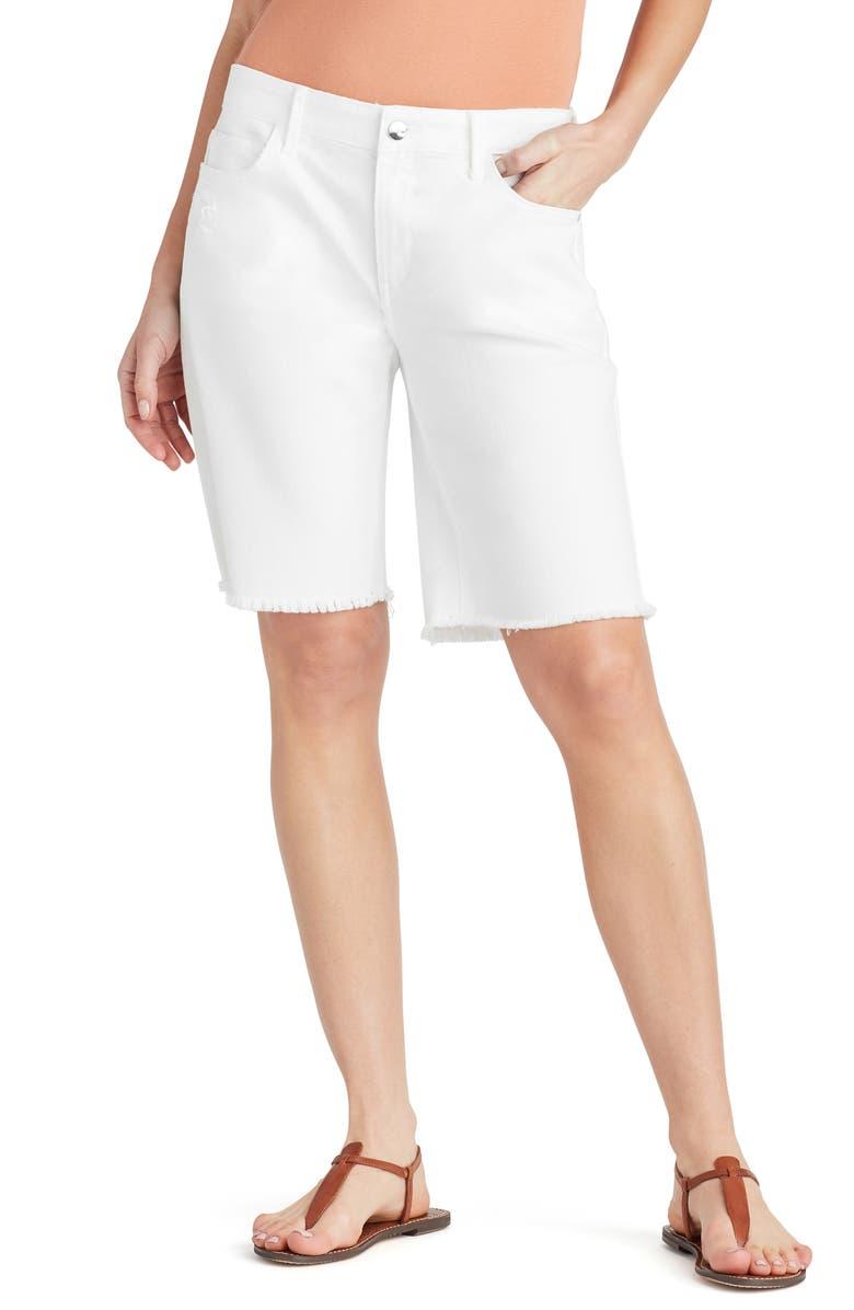SAM EDELMAN Harriette Frayed Bermuda Shorts, Main, color, 100