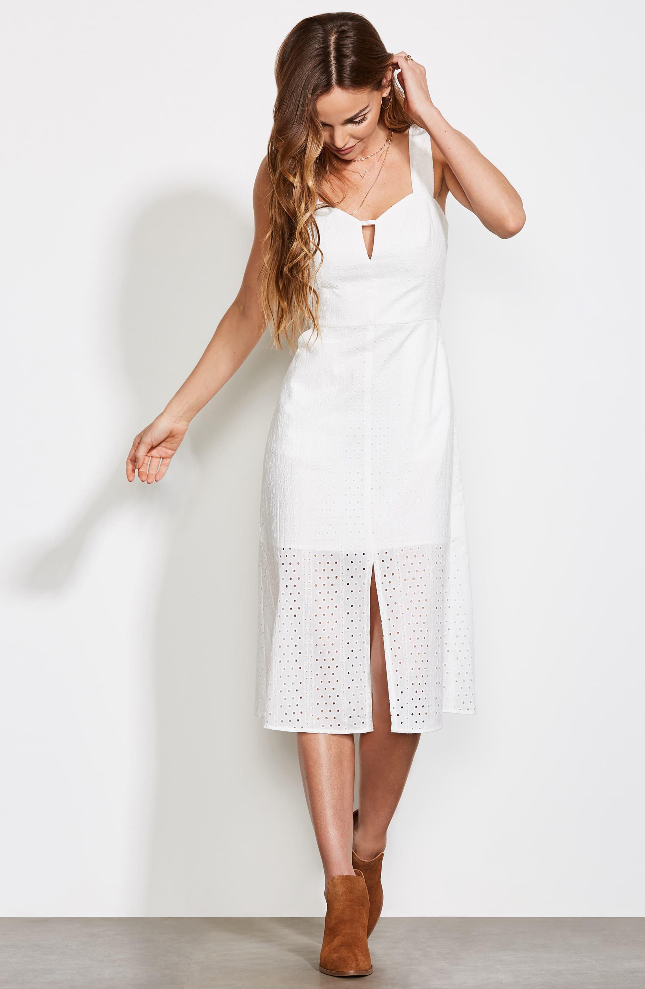 ,                             Look My Way Eyelet Midi Dress,                             Alternate thumbnail 8, color,                             WHITE
