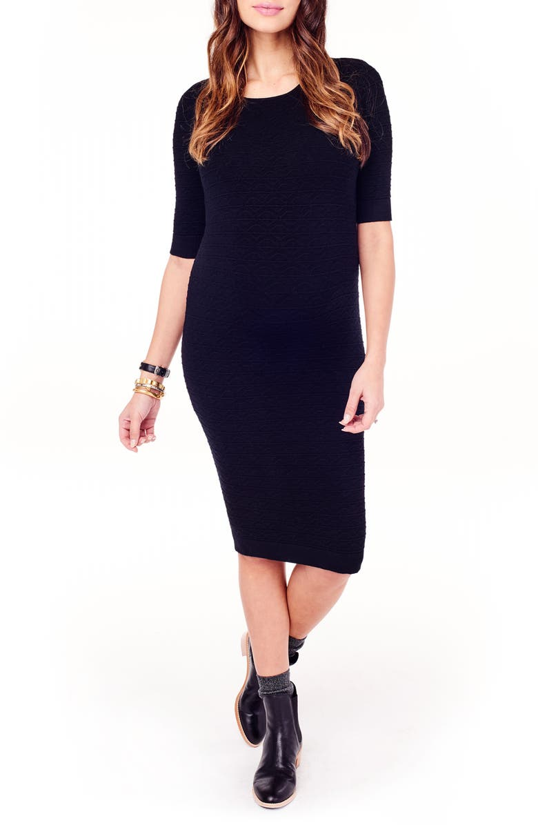 INGRID & ISABEL<SUP>®</SUP> Sweater Knit Maternity Sheath Dress, Main, color, 001