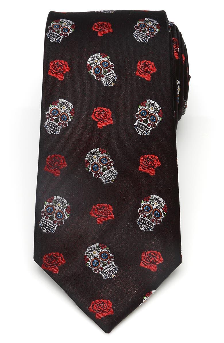 CUFFLINKS, INC. Sugar Skull Silk Tie, Main, color, BLACK