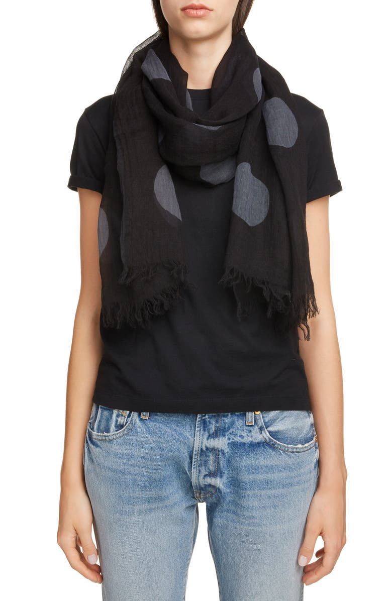 Y'S BY YOHJI YAMAMOTO Dot Cotton & Flax Scarf, Main, color, BLACK
