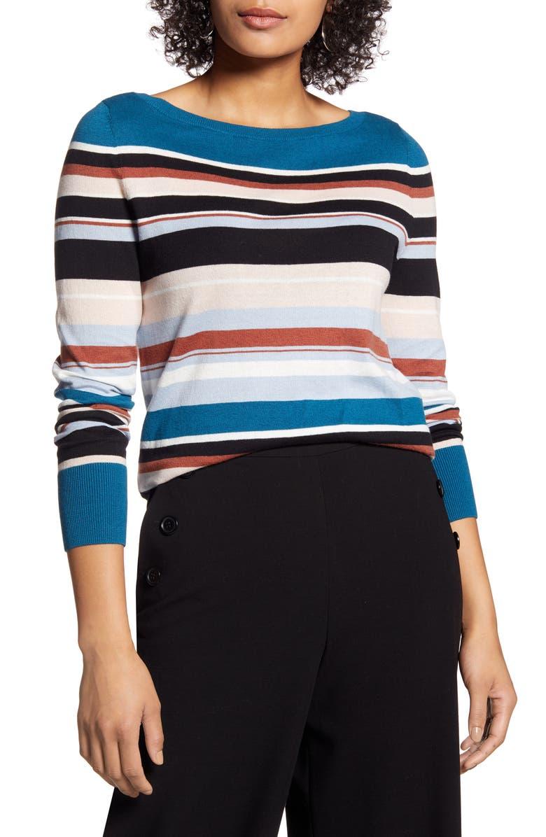 HALOGEN<SUP>®</SUP> Bateau Neck Sweater, Main, color, BLACK MULTI CAITIE STRIPE