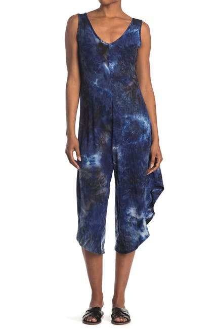 Image of TASH + SOPHIE Tie-Dye V-Neck Sleeveless Wide Leg Jumpsuit