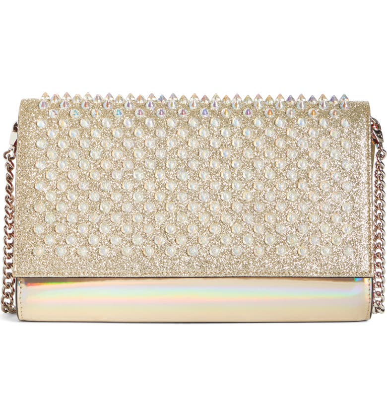 CHRISTIAN LOUBOUTIN Mini Paloma Studded Clutch, Main, color, IVORY