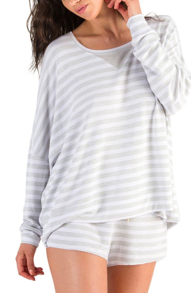 HONEYDEW INTIMATES French Terry Sweatshirt, Main, color, HEATHER GREY STRIPE