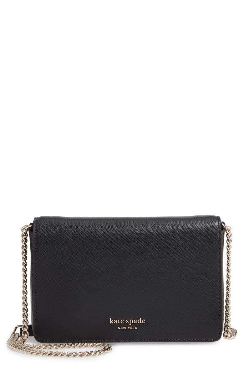 KATE SPADE NEW YORK spencer leather wallet on a chain, Main, color, BLACK