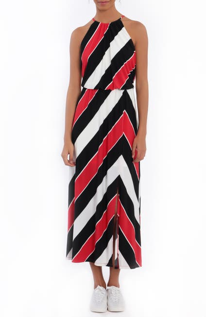 Image of London Times Striped Halter Maxi Dress