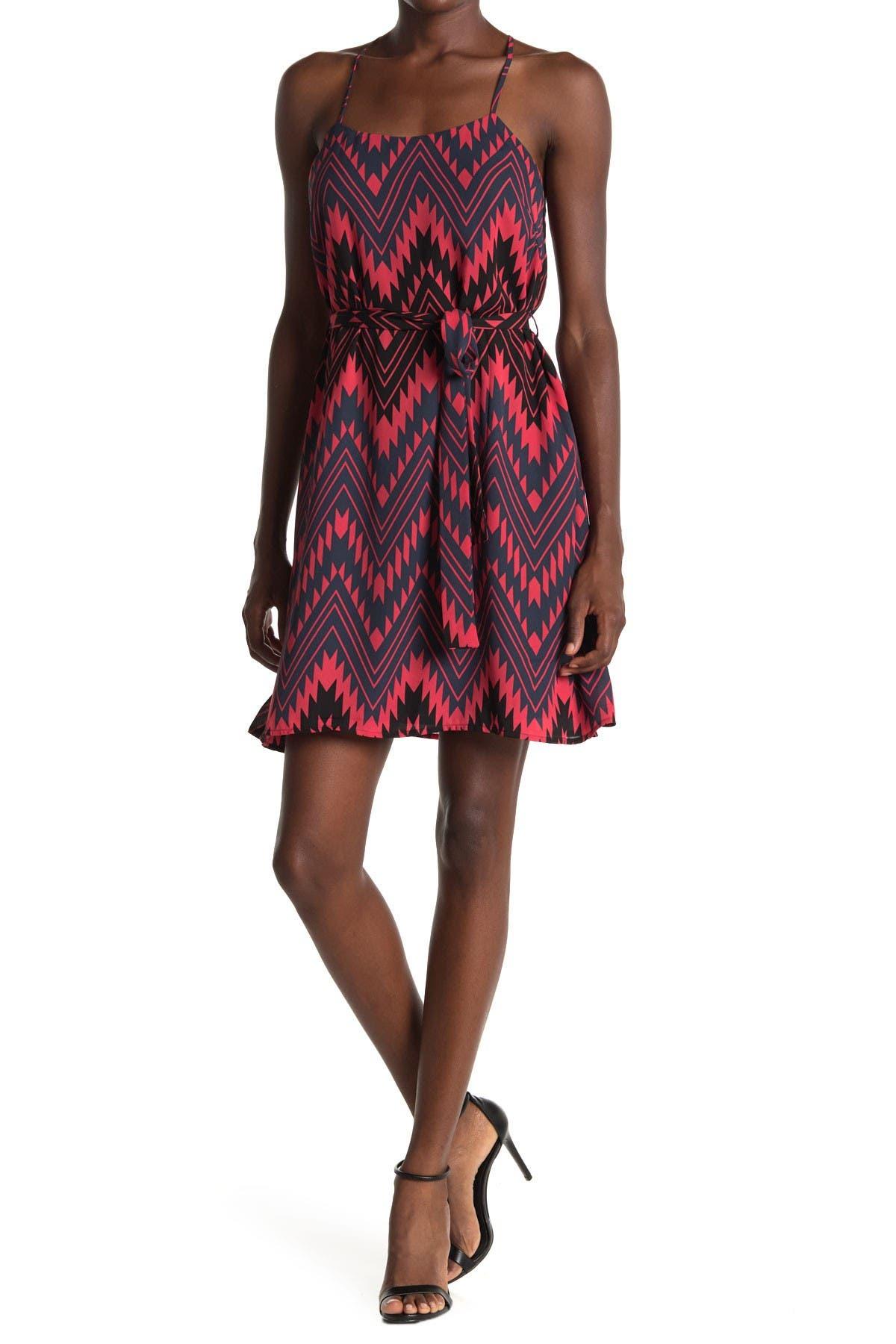 Image of Collective Concepts Chevron Print Sleeveless Shift Dress