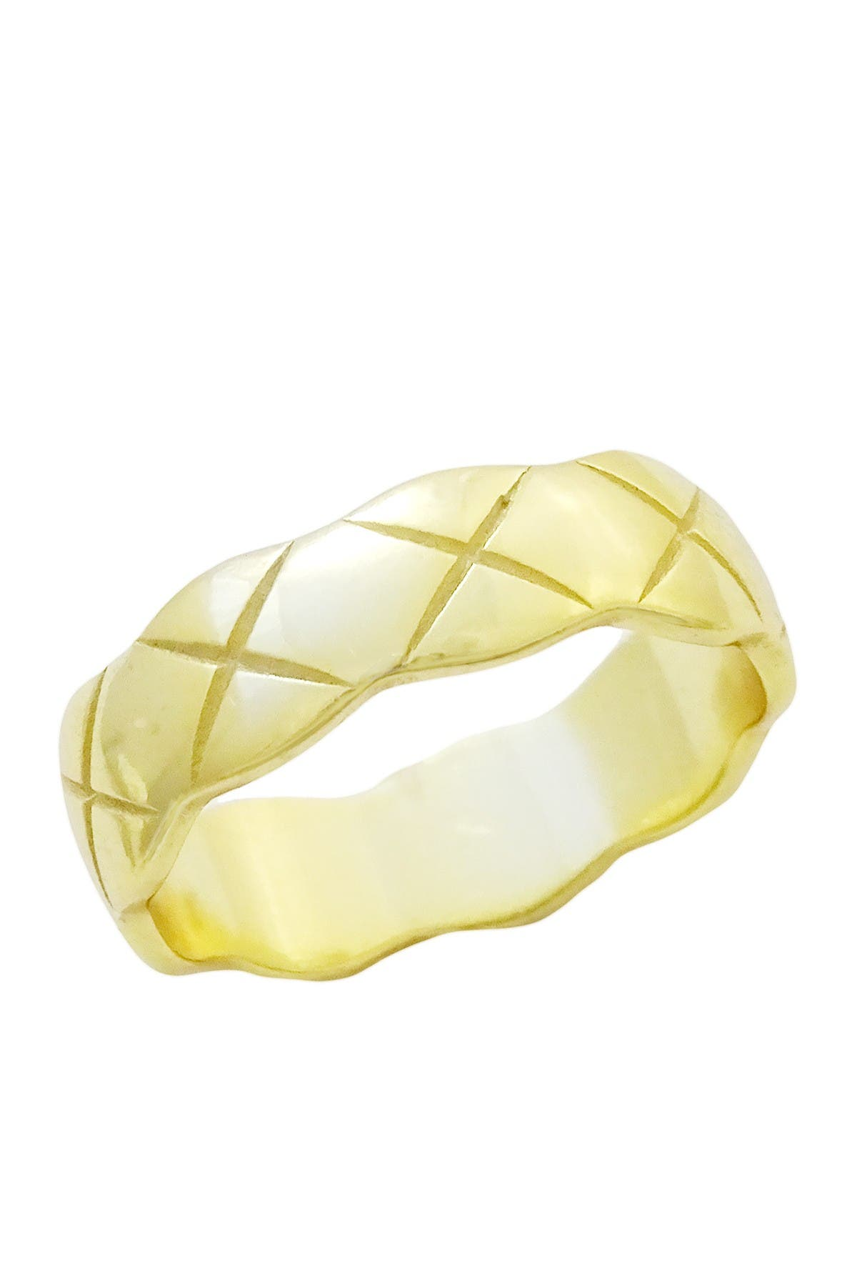 Image of Savvy Cie 18K Yellow Gold Vermeil Wide Scalloped Band Ring
