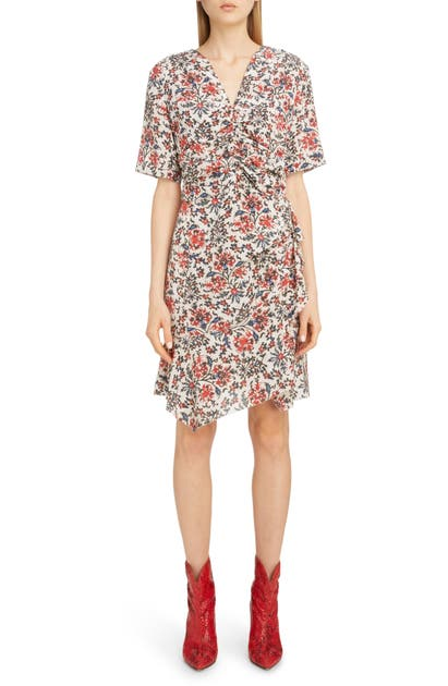 Isabel Marant Dress RUFFLE TRIM FLORAL STRETCH SILK DRESS
