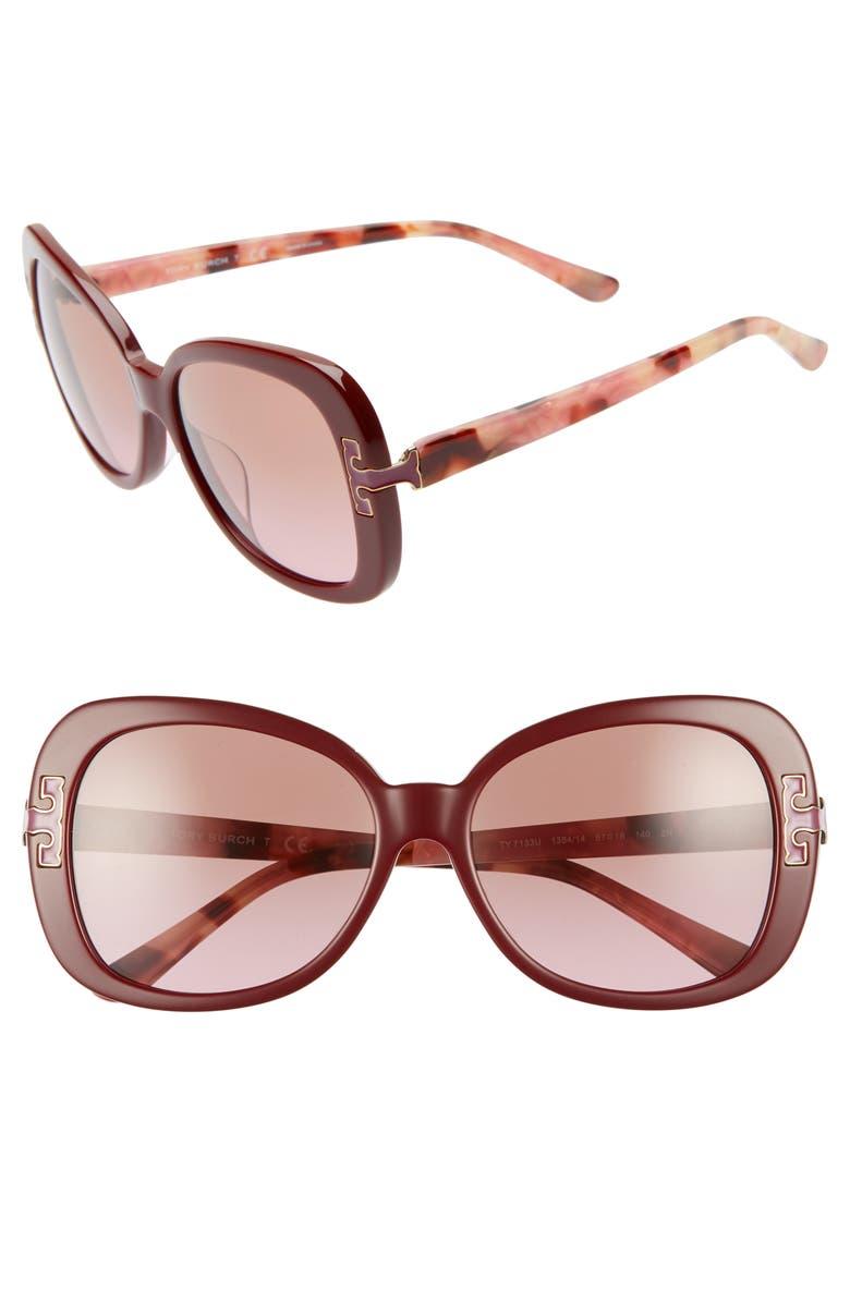 TORY BURCH 57mm Logo T Square Sunglasses, Main, color, BORDEAUX GRADIENT