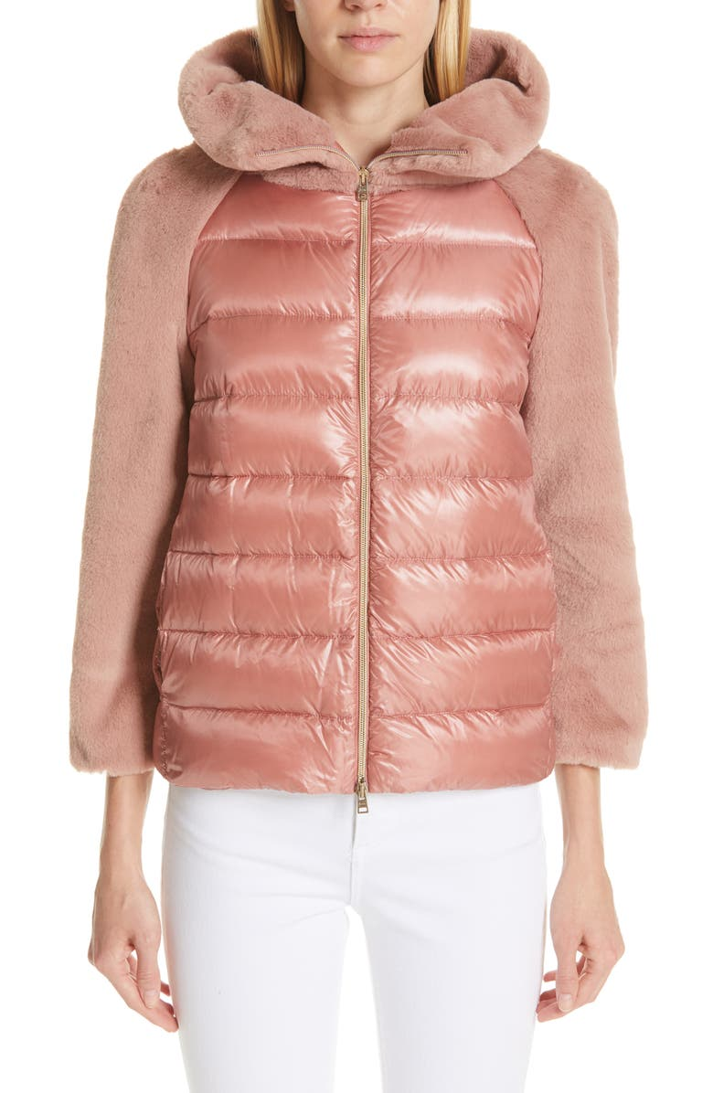 HERNO Quilted Down Nylon & Faux Fur Puffer Jacket, Main, color, PINK