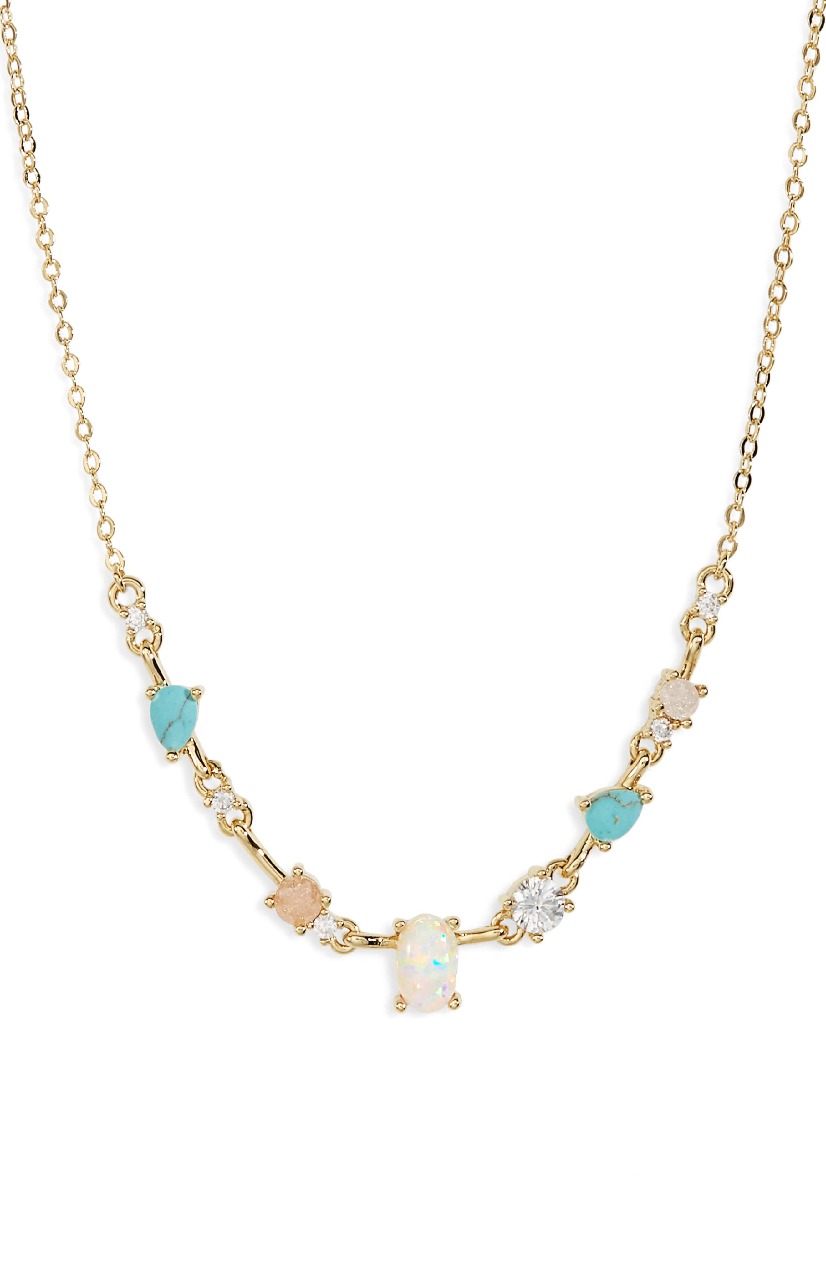 Sparkling stones are spaced out along the edge of this dainty chain. Style Name: Nordstrom Spaced Cubic Zirconia Necklace. Style Number: 6016818. Available in stores.