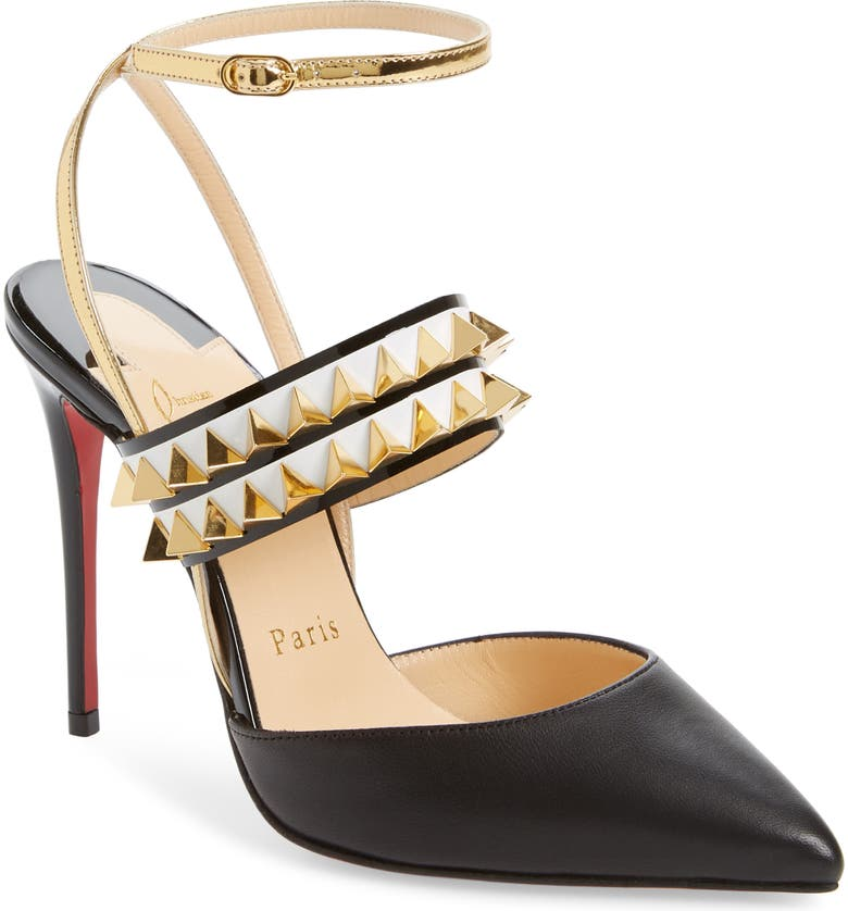 CHRISTIAN LOUBOUTIN Lady Proved Studded Ankle Strap Pump, Main, color, BLACK/ GOLD