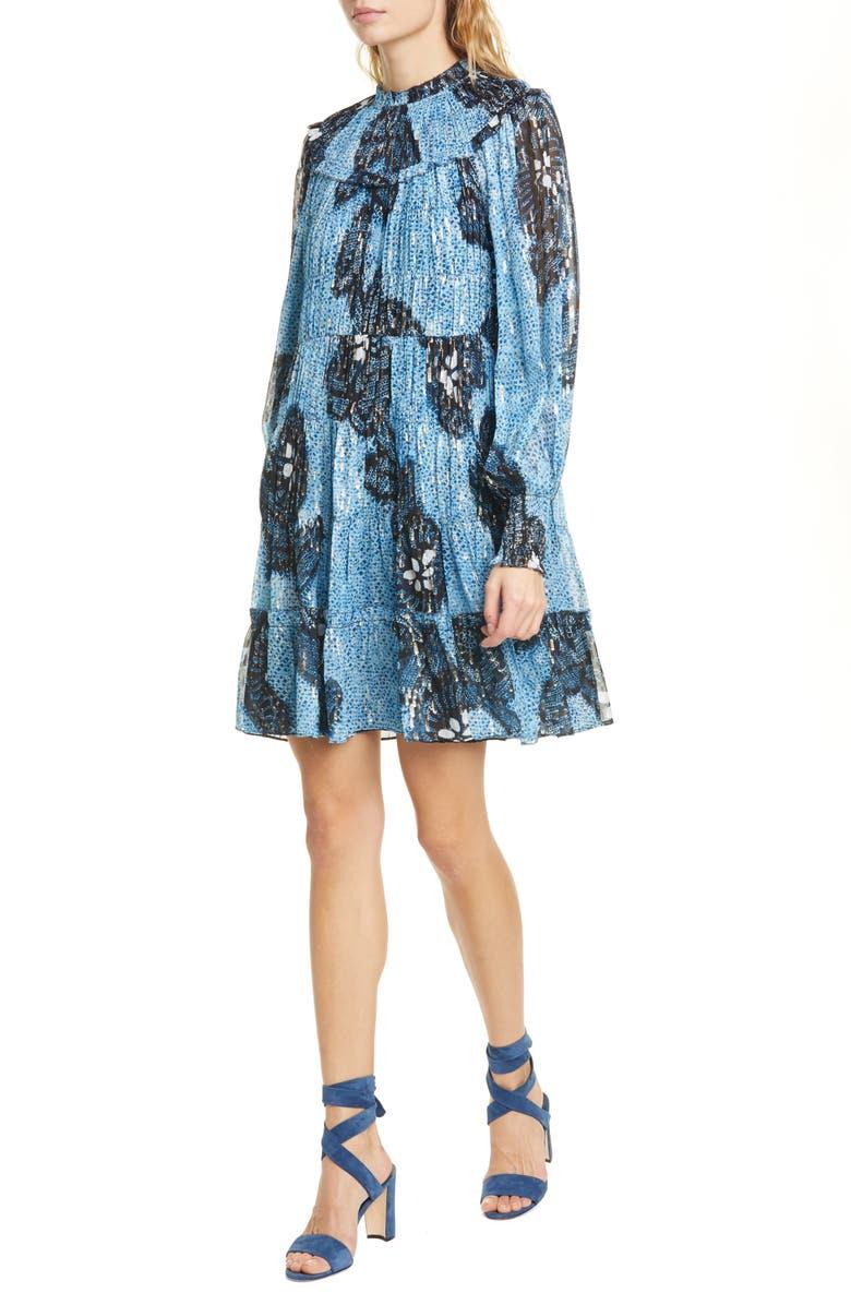 ULLA JOHNSON Emmeline Long Sleeve Silk Blend Minidress, Main, color, SKY