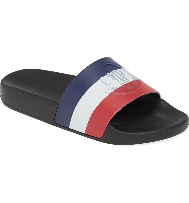 MONCLER Jeanne Logo Embossed Slide Sandal, Main, color, BLACK/ WHITE/ RED