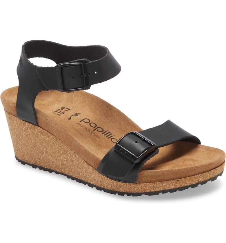 BIRKENSTOCK Soley Wedge Sandal, Main, color, BLACK LEATHER