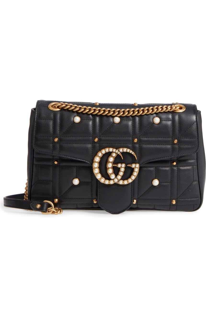 ea55d0e3d Gucci GG Marmont 2.0 Imitation Pearl Logo Matelassé Leather Shoulder Bag    Nordstrom